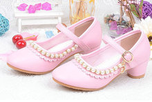New Children Kids Girls pearl Leather shoes Princess Sandals Wedding Shoes High Heels Stage show shoes недорого