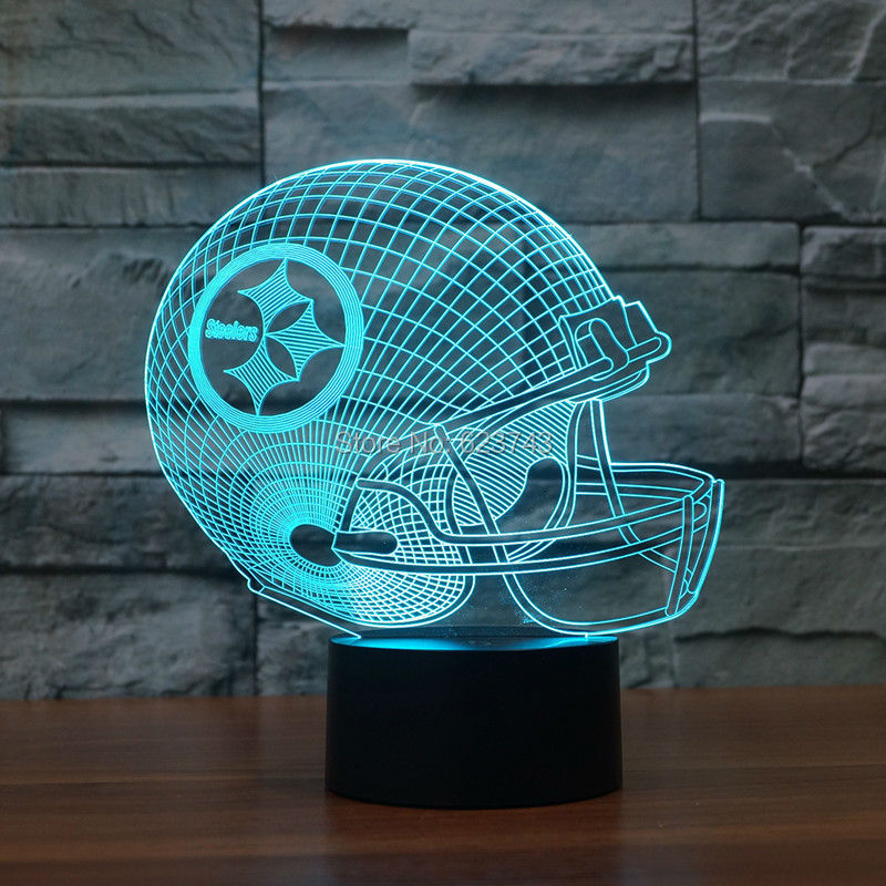 3D led logo light on helmet Pittsburgh Steelers American football Slong light gifts