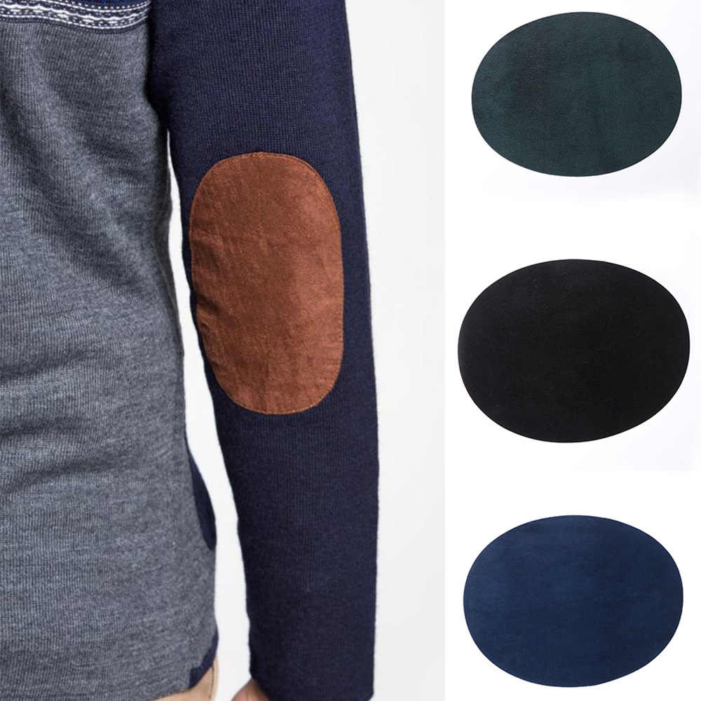 1 PC 14*11 Cm Kain Suede Patch Iron-On Siku Lutut Patch Oval Perbaikan Bordiran Lencana Diy self-Adhesive Lubang Perbaikan Patch