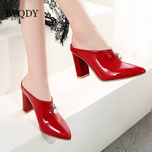 BYQDY Women Fashion High Heel Sandals Pointed Toe Beading Thick Heel Pumps Summer Office Lady Shoes Women Big Size 34-48 2017 time limited real fashion tenis feminino plus big size 34 43 sandals ladies lady fashion shoes high heel women pumps t865