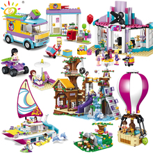 Friends Girl Series Camping travel set Building Blocks Dolphin boat car air balloon Compatible Legoed bricks toys for Children
