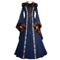 Women Medieval Dress Renaissance Dress 2019 Lace Up Vintage Style Gothic Dress Floor Length Women Cosplay Dresses Retro Gown