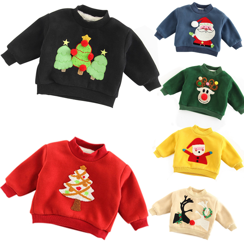 2018 Multi-colors Christmas Winter Warm Carton Pattern Boys Girls Plus Cashmere Sweatshirts Good Gift For Kids Children New