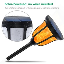 BTgeuse Solar Torches Lights Waterproof Dancing Flame Outdoor Lighting Landscape Decoration 96 LED Powered