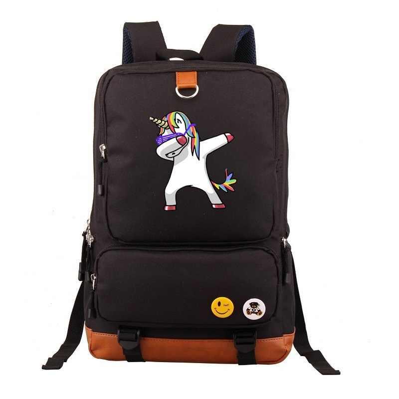Единорог Dab мультфильм рюкзак подростков Забавный натирает Единорог школьные сумки Повседневный рюкзак, сумки для ноутбуков Дорожная сумка на плечо Mochila