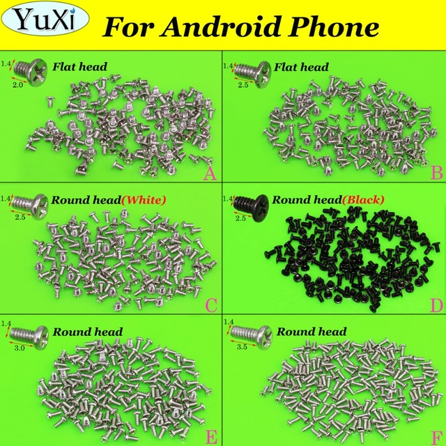 YuXi 6models each 1bag Phone Cross Screw 1.4 *2.0 / 1.4*2.5 / 1.4* 3.0 / 1.4*3.5 mm For Android for Huawei for Xiaomi etc