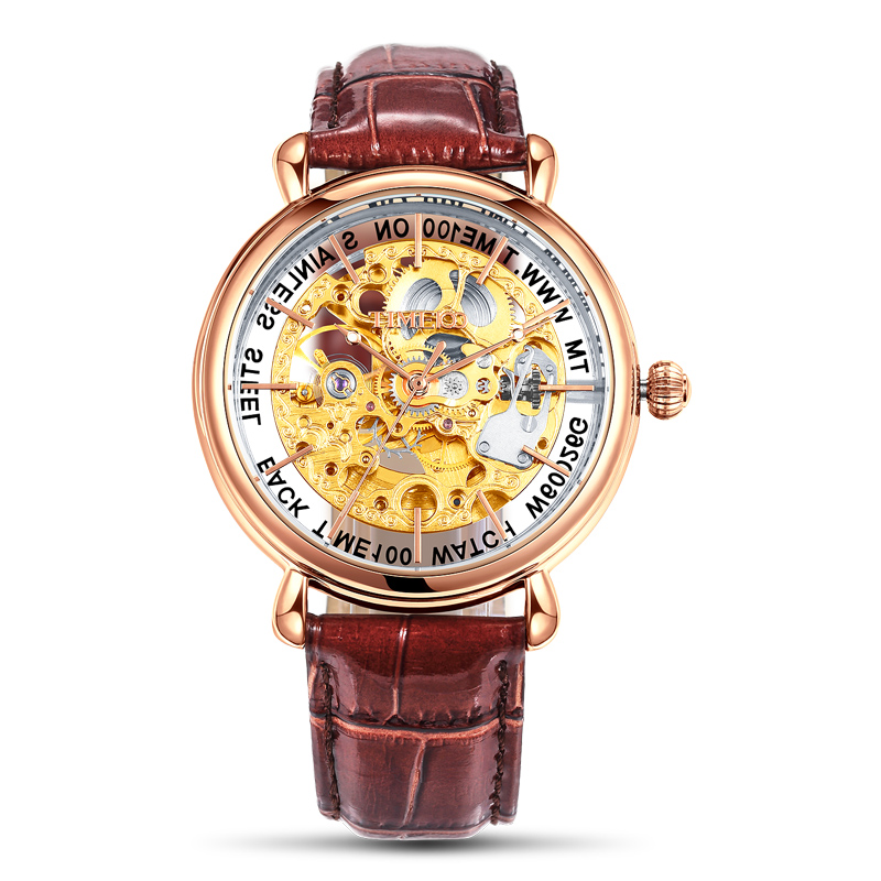 TIME100 Men Mechanical Skeleton Watches Hollow Out Automatic Self-wind Brown Black Genuine Leather Watch Men Casual Watches k colouring women ladies automatic self wind watch hollow skeleton mechanical wristwatch for gift box