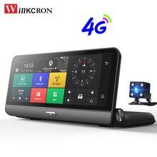"""4g GPS Car DVR Camera 8.0 """"FHD IPS tela de Toque Android 5.1 WIFI Gravador De Vídeo Traço Cam 1080 p lente dupla Registrador de Monitoramento de Estacionamento"""
