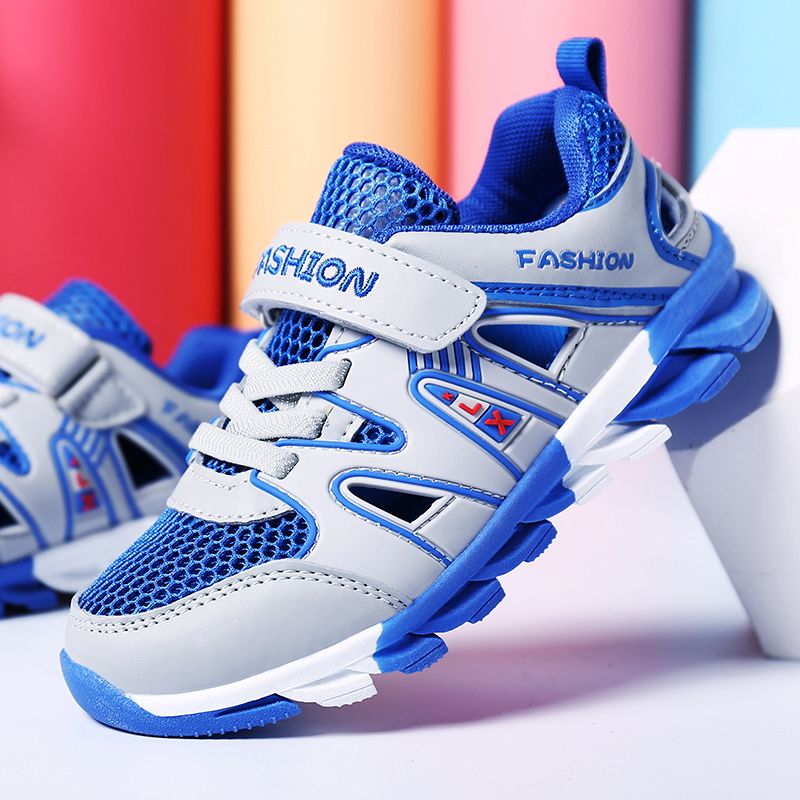 DJSUNNYMIX 2018 Kids school shoes summer spring sneakers boys running sports shoes air mesh blue gray for 2-16Y