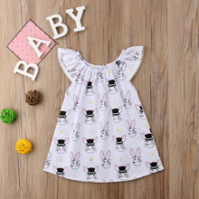 2018 Cute Newborn Kid Baby Girl Summer Bunny Dress Briefs White Short Sleeve A-line Dress Outfit Clothes Sundress yu(China)