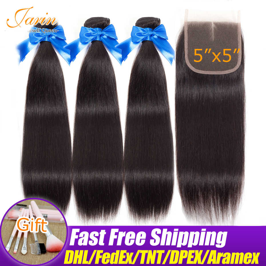 Malaysian Straight Hair Bundles With 5x5 Closure Free Middle Three Part Bundle With Lace Closure Jarin Remy Human Hair Extension