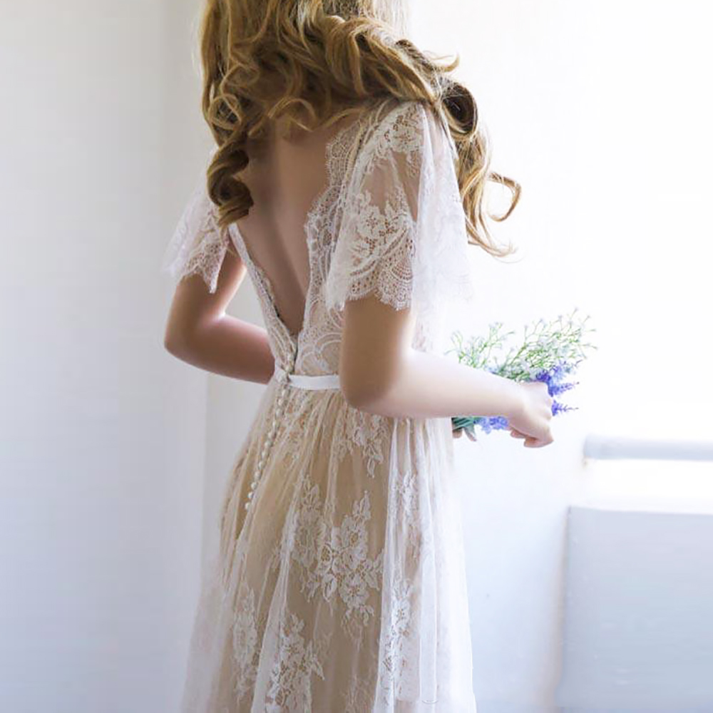 vinatge-lace-wedding-dress-a-line-v-neck