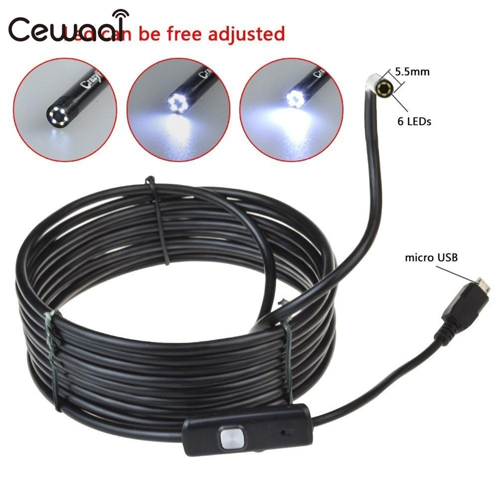 Cewaal 1m 5m 7mm IP67 Waterproof 1.3 MP Android PC Endoscope 6 LED Borescope Micro USB Inspection Tube Pipe Snake Mini Camera