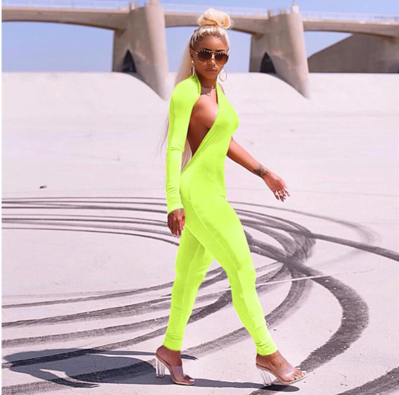 Fluorescent <font><b>Green</b></font> One Shoulder <font><b>Sexy</b></font> <font><b>Jumpsuit</b></font> for <font><b>Women</b></font> Autumn Long Sleeve Backless Skinny Playsuit Casual Overalls image