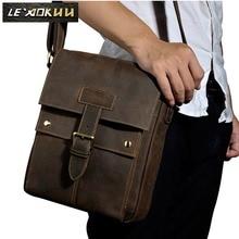 Crazy horse leather Men Fashion Shoulder crossbody Messenger Bag Real leather Designer Mochila University Book School bag 8571