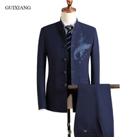 65b6b96605e13 2018 New Arrival Spring Style Men Suit High Quality Slim Solid Blazer Three  Piece Embroid Suits