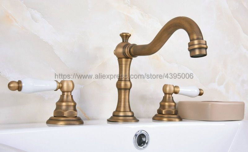Antique Brass Widespread Bathroom Basin Mixer Taps Dual Handles Deck Mounted 3 Holes Basin Sink Faucet