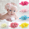 2016 New Baby Girl's Chiffon Pearl Headband Rose Flower Hairband Photography Prop Band  8NIZ