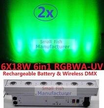 2xLot свет водить мытья стены Луча бар Линия света этапа шайбы 6x18W rgbwa+УФ беспроводной DMX аккумулятор флуд эффект