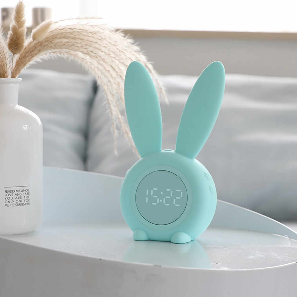Clock Cute Rabbit Alarm Clock Creative Led Digital Snooze Cartoon Electronic Modern Design Decorative Wall Clock Special19JUL10