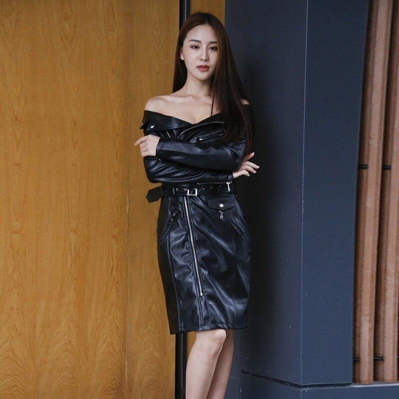 2019 Sexy hors épaule Zipper Club Robe ceinture Robe robes de soirée à manches longues PU cuir Robe femmes printemps vêtements Z007