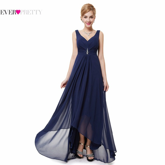 Formal Evening Dresses EP09983 Ever Pretty New Arrival Real Photo Plus Size Double V Neck Rhinestones Long Evening Dress