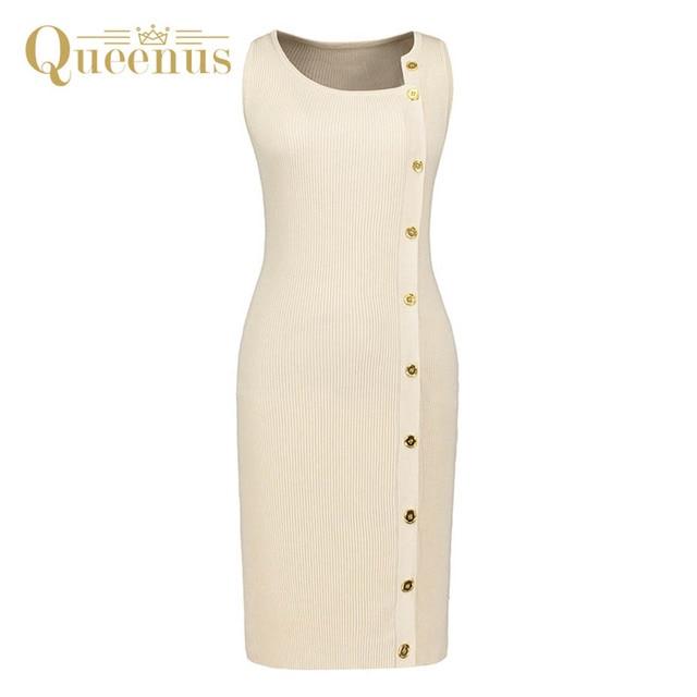 Queenus 2017 Womens Sweater Dress Oblique Collar Button Down Knee