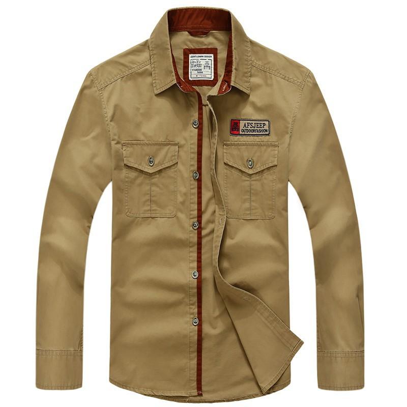 AFS JEEP 2015 Spring Autumn Fashion Men\'s Cotton Dress Plus Size Shirts Camisa Hombre Blouse Vestido Men Clothes Casual 2XL 3XL (19)