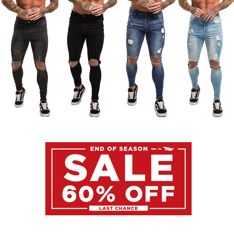 Gingtto 60% Off Men's Skinny Jeans Super Spray on Skinny Tight Pant Cotton Spandex Clearance Sell Summer End Big Size 28-34