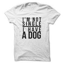 Linraoqian я не один у меня есть собака Письмо печати Для женщин футболка летние шорты рукавами футболки с круглым вырезом Для женщин свободная футболка Femme