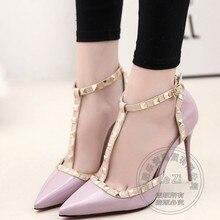 Party 2016 Designer Marken Schuhe Frauen Stiletto Heels Luxus Pumpt Schuhe Pu Verschluss Pu Einfach Glänzend Spitzen Verzierte Designer Schuhe