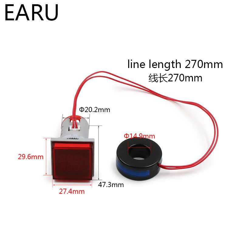 Mini Digital Voltímetro Amperímetro 0-100A 20 22mm Quadrado AC-500 v Amp Volt Medidor de Tensão Tester LED Duplo piloto indicador Lâmpada Luz