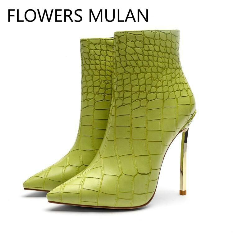 Dames Pour Crocodile Mode En Bout Cuir Pointu Clair Chaussons Haute Vert  Femme Super Chaussures Or Bottes Talons Motif Femmes Cheville 86xn8qBF 281565484b5a