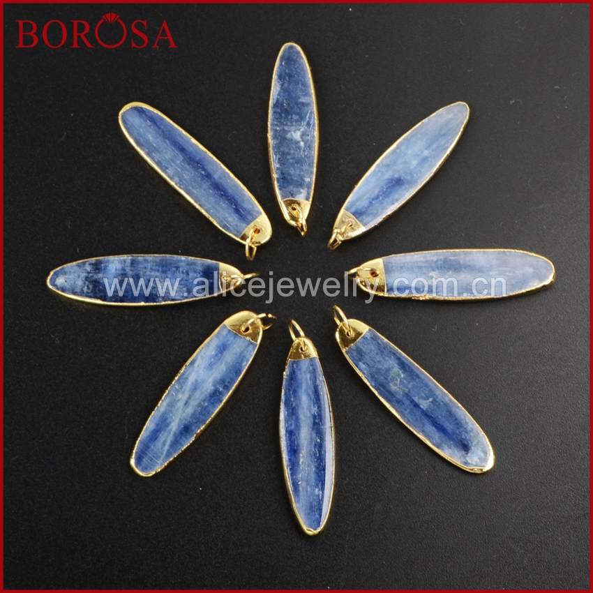 BOROSA 10 pcs Gold Color Natural Long Oval kyanite Charm G1023 Druzy Jewelry