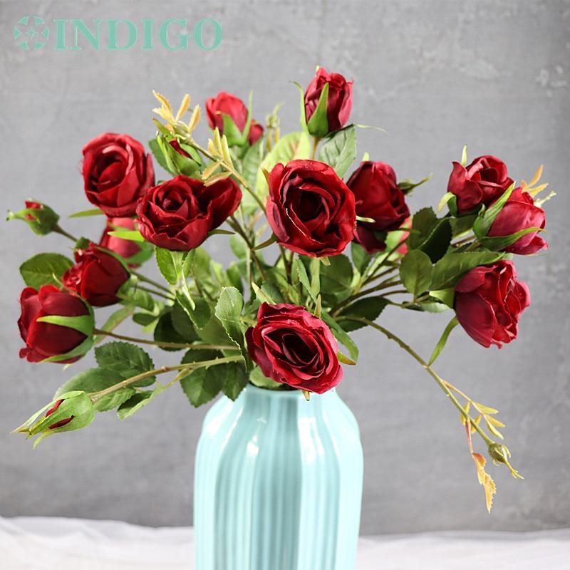 5 Köpfe Red Rose Spray Tabelle Dekorative Rose Blumen Künstliche - Partyartikel und Dekoration - Foto 2