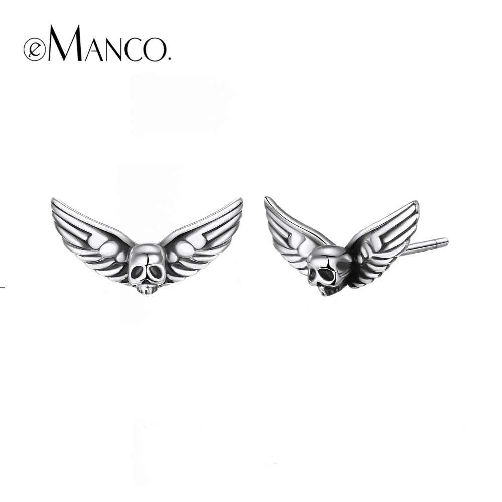e-Manco 925 Sterling Silver Skull Stud Earrings Vintage Party Unisex Prevent Allergy Wings Earrings New Arrival
