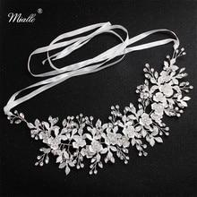 Miallo Fashion White Flowers Crystal Handmade Headband Wedding Hair Jewelry Accessories Headpieces Princess Tiaras and Crown
