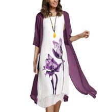2 unids/set de ropa de verano de moda Vintage flor tinta pintura mujeres sin mangas vestido de sol Kaftan señora vestido Casual con Cardigan ch