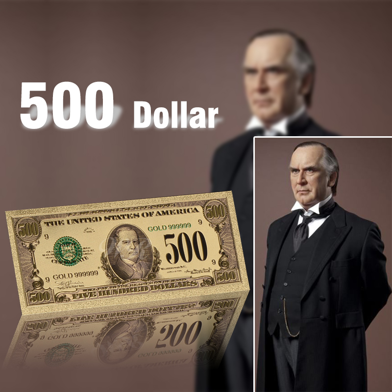 Gold Plated Banknote USA 500 Dollars Paper Money Decorations Colored Fake Bills Souvenir Gifts 24k Gold Banknote Collection