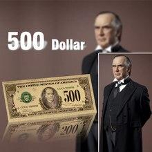 Billetes falsos chapados en oro, decoraciones de papel de 500 dólares de EE. UU., regalos de recuerdo, colección de billetes de oro de 24k