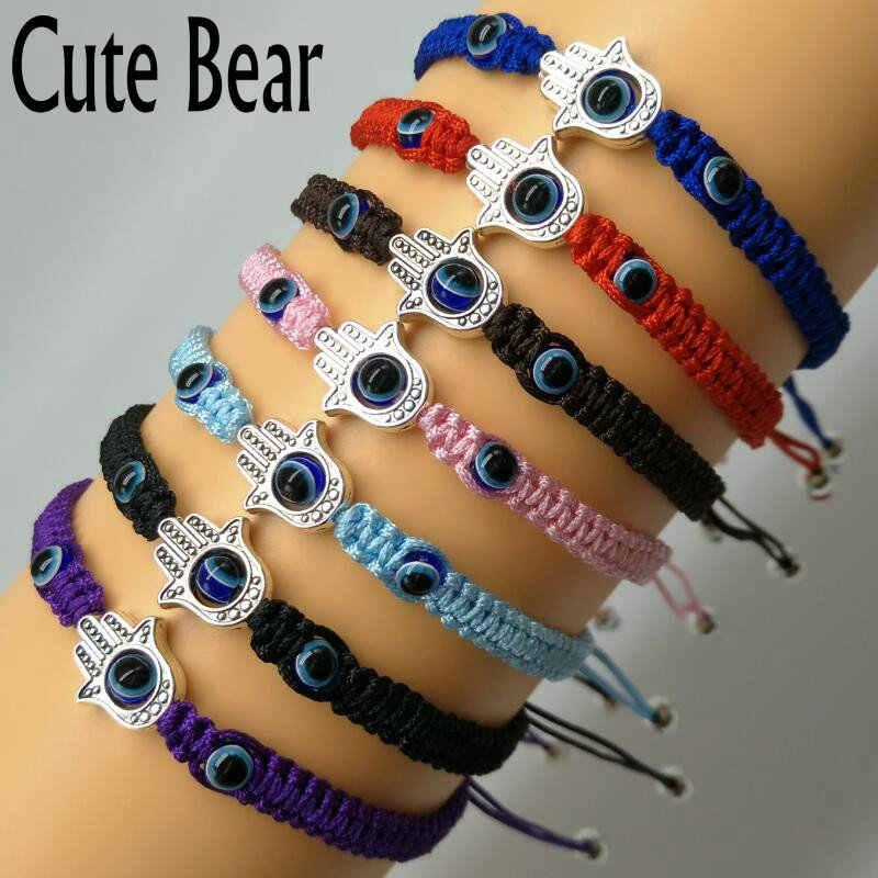Bonito urso marca antiga prata fatima mãos mulheres pulseira borla macrame tecer pulseira turquia azul olho pulseira jóias