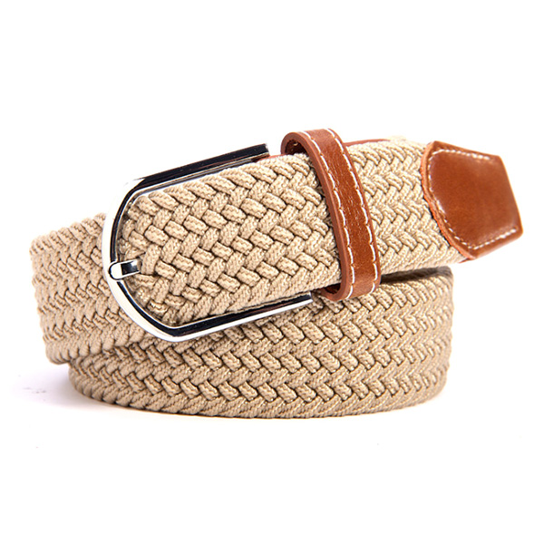 <font><b>Sexy</b></font> Fashion <font><b>Men</b></font> Women Unisex Waist <font><b>Belt</b></font> Useful Solid Canvas Woven <font><b>Leather</b></font> Buckle Elastic Waistband New Arrival image