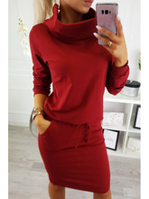 4 Colors 2018 Fall and Winter Fashion Round Collar Long Sleeve Belt Pocket Women Dress