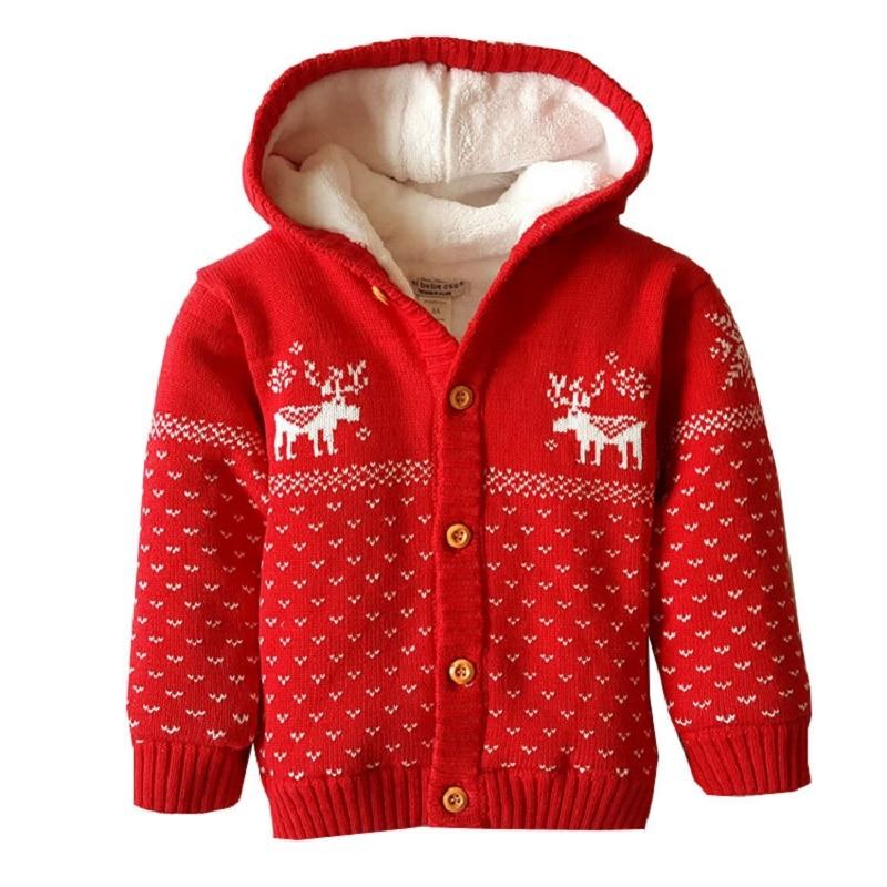 Autumn winter child Christmas elk Cotton thread Knitted coat Boy and girl hooded plus velvet children's sweater warm coat plus size christmas snowflake elk print hoodie