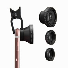 For iPhone 5 5s 6 Samsung Xiaomi HTC Fisheye Vast Angle Macro Lenses three in 1 Common Cellular Cellphone Lens Digicam