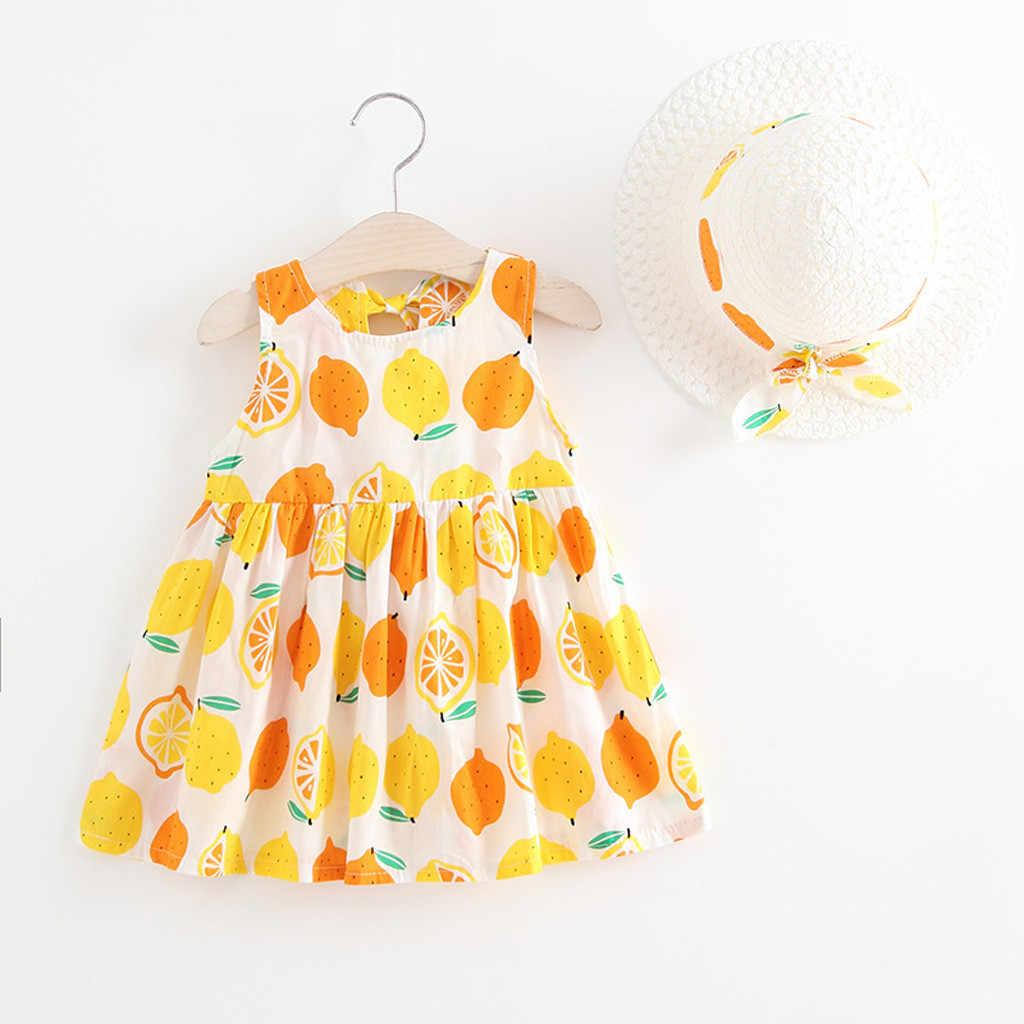 MUQGEW 2019 девушки платье Детская одежда для девочек летние фрукты платья принцессы шапка повседневная одежда комплект Детские платья для девочек