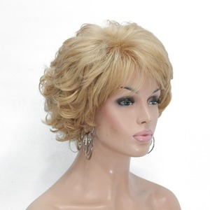 Image 3 - StrongBeauty Womens Short wig Dark brown/silver Natural Curly Hair Synthetic Full Wigs