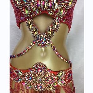 Image 5 - Heißer verkauf frauen perlen Kristall bauchtanz kostüm tragen Bar + Gürtel + Halskette 3pc set sexy bellydancing kostüme bauchtanz kleidung