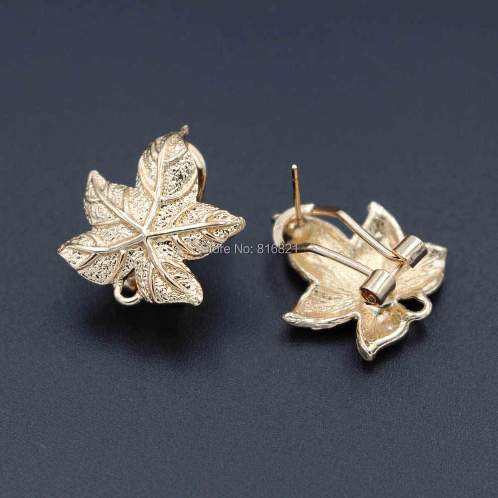 Clip Ohrringe Beitrag Maple Leaf mit Schleife Aufhänger Anschlüsse DIY Metall African Indischen Arabischen Frauen Hochzeit Ohrringe Erkenntnisse 19 x 22mm