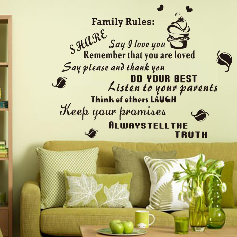 Family Rules Black Letters Wall Decals For Home Decoration, Vinyl ...